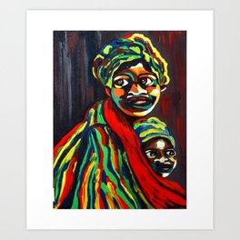 African Traditional Tribal Women Abstract Art Canvas Painting Series - 8 Art Print