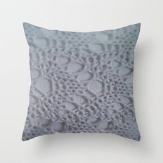 icy blue crochet cotton Throw Pillow