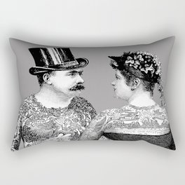 Tattooed Victorian Lovers Rectangular Pillow