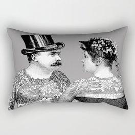 Tattooed Victorian Lovers | Tattooed Couple | Vintage Tattoos | Victorian Tattoos | Victorian Gothic Rectangular Pillow