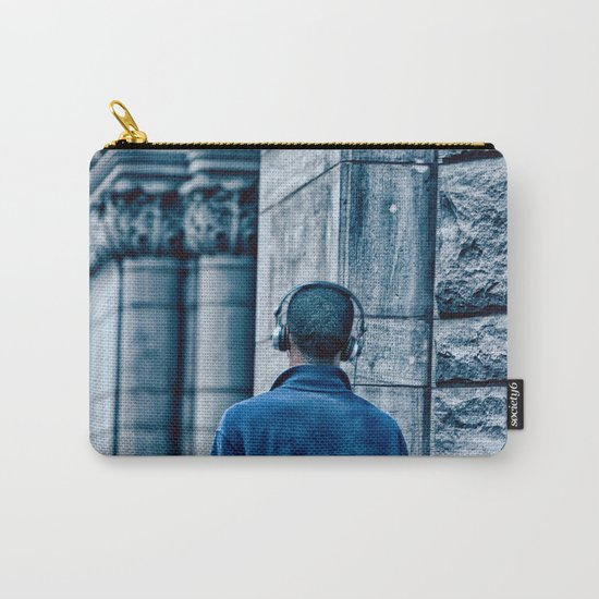 Man headset blue Carry-All Pouch