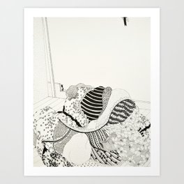 Once I thought the folds of a dress were the same as grey matter Art Print