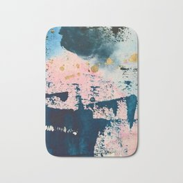 Candyland: a vibrant, colorful abstract piece in blue teal pink and gold by Alyssa Hamilton Art Bath Mat