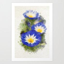 Watercolor Morning Glories Art Print