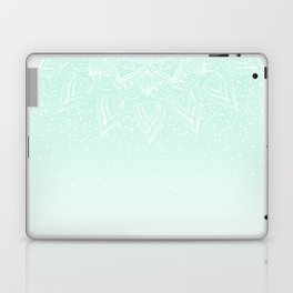 Elegant white and mint mandala confetti design Laptop & iPad Skin