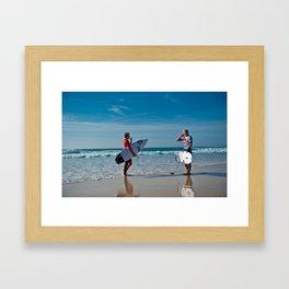 Pro Surfers before the battle Framed Art Print