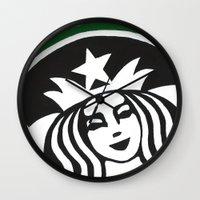 starbucks Wall Clocks featuring Starbucks Abstract by Tiffany Taimoorazy