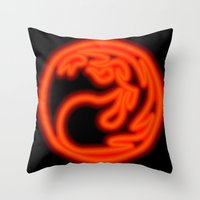 magic the gathering Throw Pillows featuring Magic the Gathering, Neon Red Mana by Thorn Blackstar