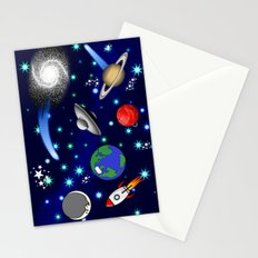 Galaxy Universe - Planets, Stars, Comets, Rockets Stationery Cards