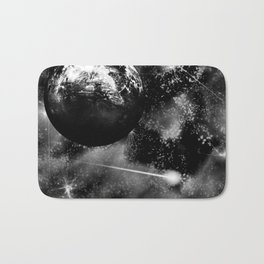 Alien planet black and grey Bath Mat