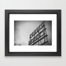 City Architecture Sign Seattle Pike Place Market at Dawn Black and White Vintage Framed Art Print