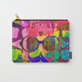 old vintage funny skull art portrait with painting abstract background in red pink yellow green blue Carry-All Pouch