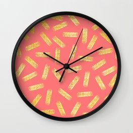 Elegant Pink and Gold Brushstroke Pattern Wall Clock