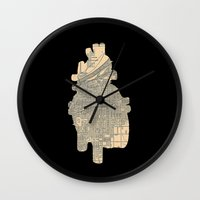 maps Wall Clocks featuring maps by yayanastasia