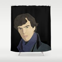 sherlock Shower Curtains featuring Sherlock by Julia Lake Art Designs
