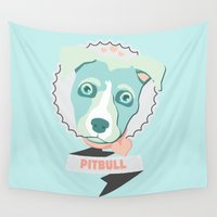 pastel goth Wall Tapestries featuring Pastel Pitbull by Minette Wasserman