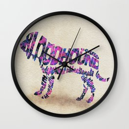 The Bloodhound Typography Art / Watercolor Painting Wall Clock