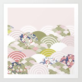 scales simple Nature background with japanese sakura flower, rosy pink Cherry, wave circle pattern Art Print
