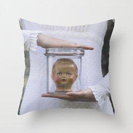 Doll in a jar Throw Pillow