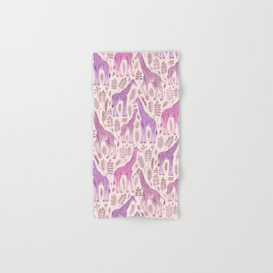 Pink Giraffe Pattern Hand & Bath Towel