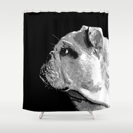 english bulldog dog vector art black white Shower Curtain