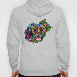 Smiling Pit Bull in Blue - Day of the Dead Pitbull Sugar Skull Hoody