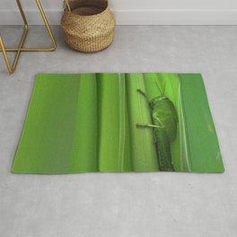 Green Grasshopper on Green Leaves Rug