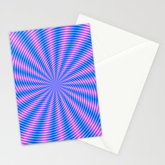Pink and Blue Spiral Rays Stationery Cards