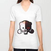 dangan ronpa V-neck T-shirts featuring Danganronpa- Monobear by Ren Flexx