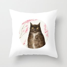 Spring Owl Throw Pillow