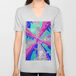 psychedelic geometric pattern drawing abstract background in blue pink purple Unisex V-Neck