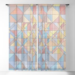 Triangle Pattern no.16 Pastels Sheer Curtain