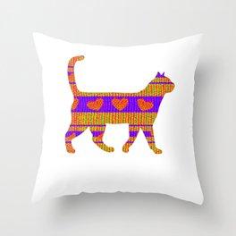 Heart Sweater Cat Throw Pillow