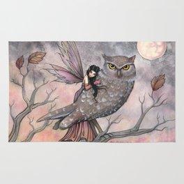 Friendship Fairy and Owl Autumn Fantasy Art by Molly Harrison Rug