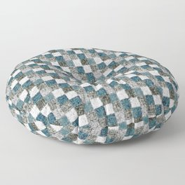 Rustic Gray Turquoise Green Beige Patchwork Floor Pillow