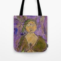 queer Tote Bags featuring Queer Buddha ~ Invocation  by Jamila
