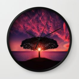 Purple Coastal Sunset with Lonely One Tree Hill color photograph / photography Wall Clock