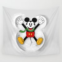 mickey Wall Tapestries featuring Snow Mickey by Florent Bodart / Speakerine