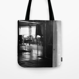 Street Photo - Vacant Home Empty Chairs - Black and White Tote Bag