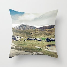 Scenic Snow-Capped Mountains And Majestic Meadow Throw Pillow