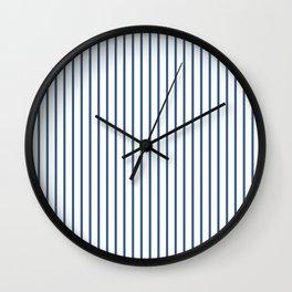 Iris Blue Pinstripe On White Wall Clock
