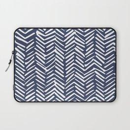 Boho Herringbone Pattern, Navy Blue and White Laptop Sleeve