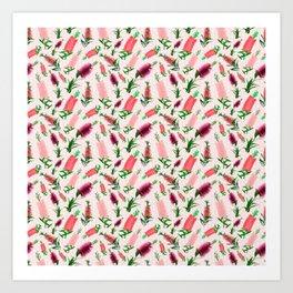 Australian Native Floral Print - Pink Bottlebrush Pattern Art Print