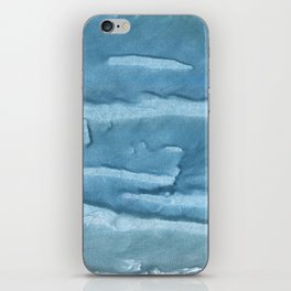 Cadet blue colored watercolor pattern iPhone Skin