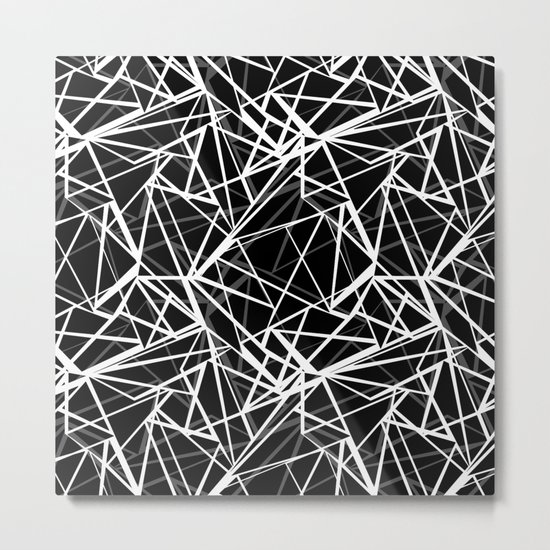 Black and white abstract geometric pattern . 8 Metal Print