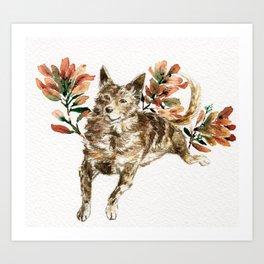 watercolor Taiwan Dog - Tabby Art Print
