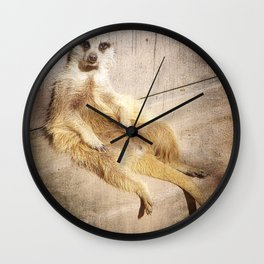 Funny Baby Meerkat Lounging Wall Clock