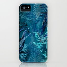 Night Forest Blue Fern Leaves Botanical Abstract iPhone Case