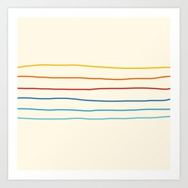 Bright Classic Abstract Minimal 70s Rainbow Retro Summer Style Stripes #1 Kunstdrucke