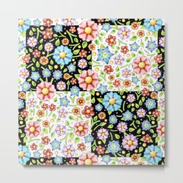 Millefiori Floral Checks Metal Print